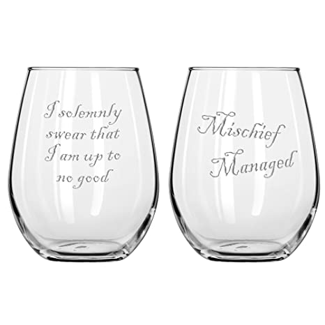 "fca7c6b9637 Funny Wine Glass Collection with ""Mischief Managed"" and ""I Solemnly Swear I  Am Up To No Good"" Sayings, Classic Unstemmed Wine Glasses for Men ..."