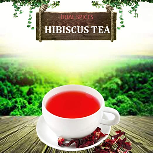 Dualspices Hibiscus TEA - 100% CERTIFIED Organic Hibiscus Flowers Tea 1 Pound, (Whole Petals) Helps Lower Blood Pressure, Makes Iced Tea