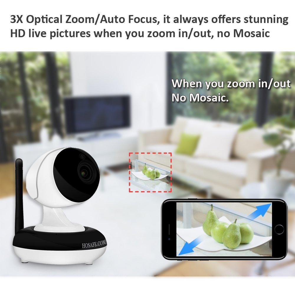 Cámara IP inalámbrica HOSAFE 960P, PTZ (Zoom óptico Pan / Tilt / 3x), Habla bidireccional, visión nocturna de 50 pies, Alerta de detección de movimiento, ...