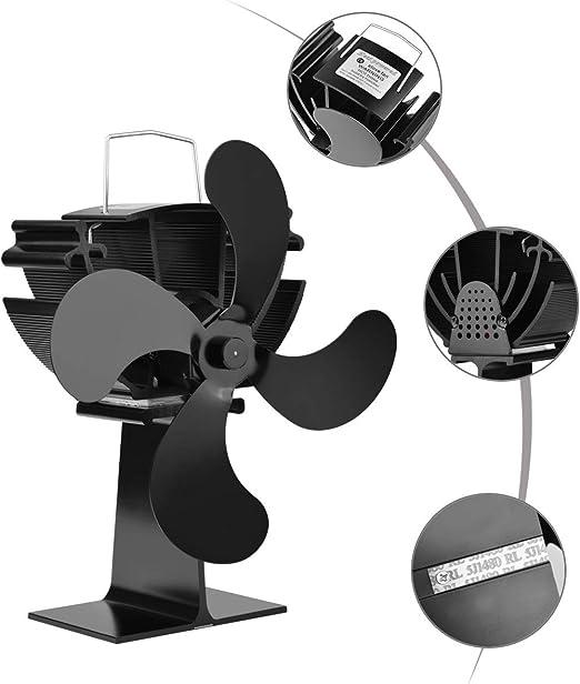 LNNL Estufa Ventilador 4 aspas, quemadores de leña, Mini Ventilador silencioso de pequeña Estufa para Estufas de leña, chimeneas y Estufas (tamaño pequeño, Negro): Amazon.es: Hogar