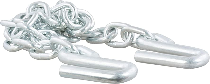 "Trailer 1//4/"" x 48/"" Safety Chain with 7//16/"" S-hooks 5,000 lb Rating Zinc Finish"