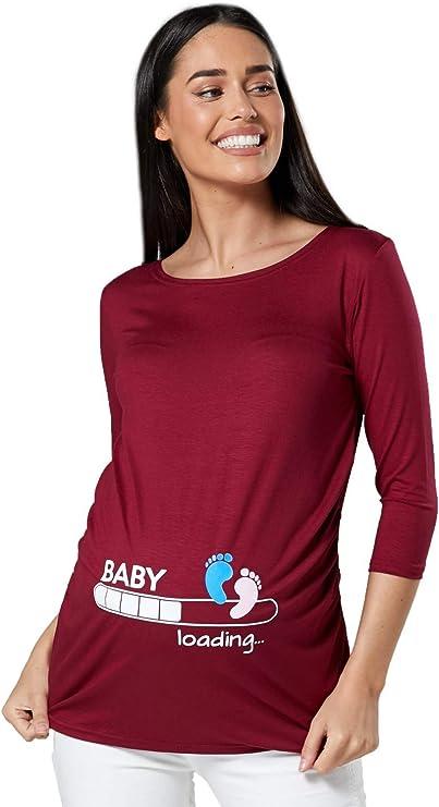 Mujer Camiseta premamá estampado Baby Loading y Bebé pies talla XXL