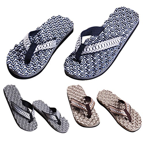 Voberry Men Summer Comfortable Massage Flip Flops Shoes Sandals Male Slipper Indoor & Outdoor Flip-flops Black cj7C89
