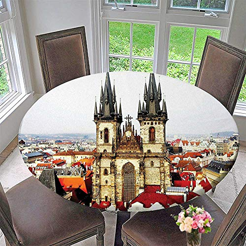 Mikihome The Round Table Cloth Bird Eye Prague View and Tyn Church Castles Town Square Grey Ivory Burgundy for Birthday Party, Graduation Party 47.5