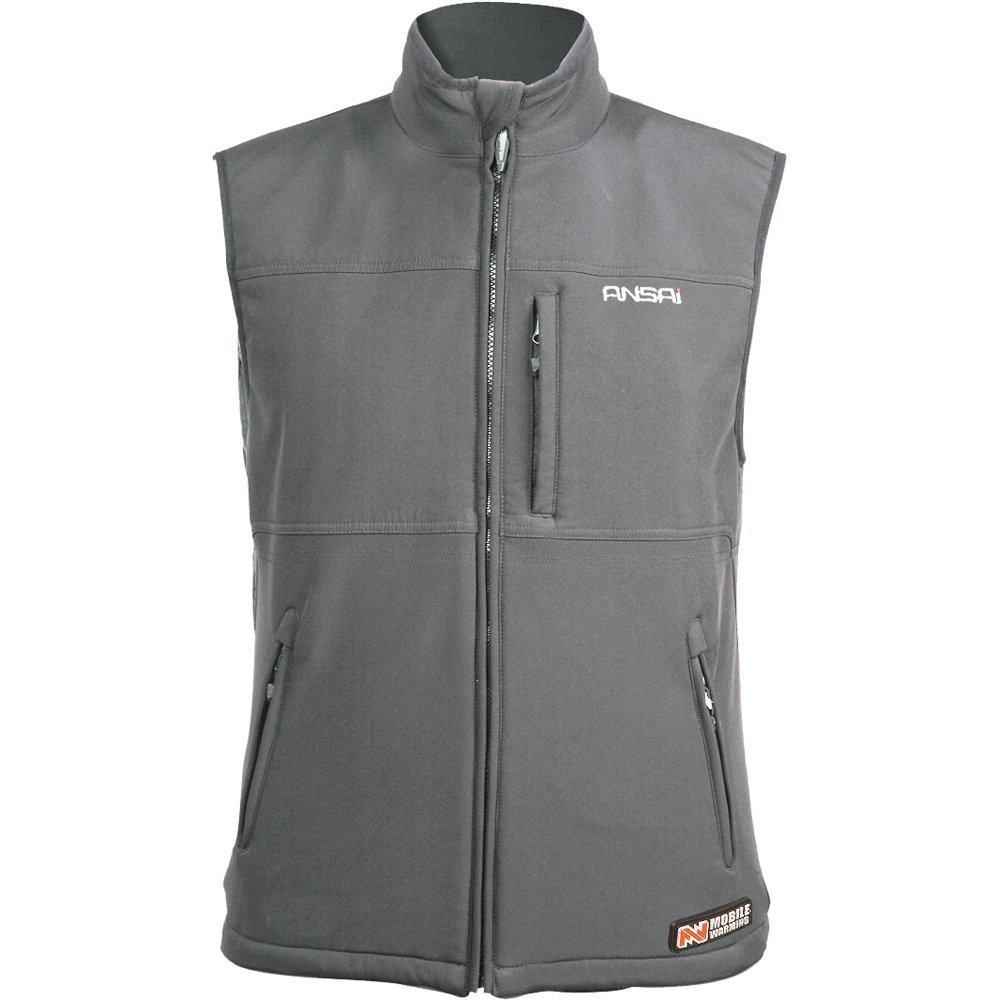 Mobile Warming Classic Mens Gun Metal Softshell Textile Motorcycle Vest - X-Large