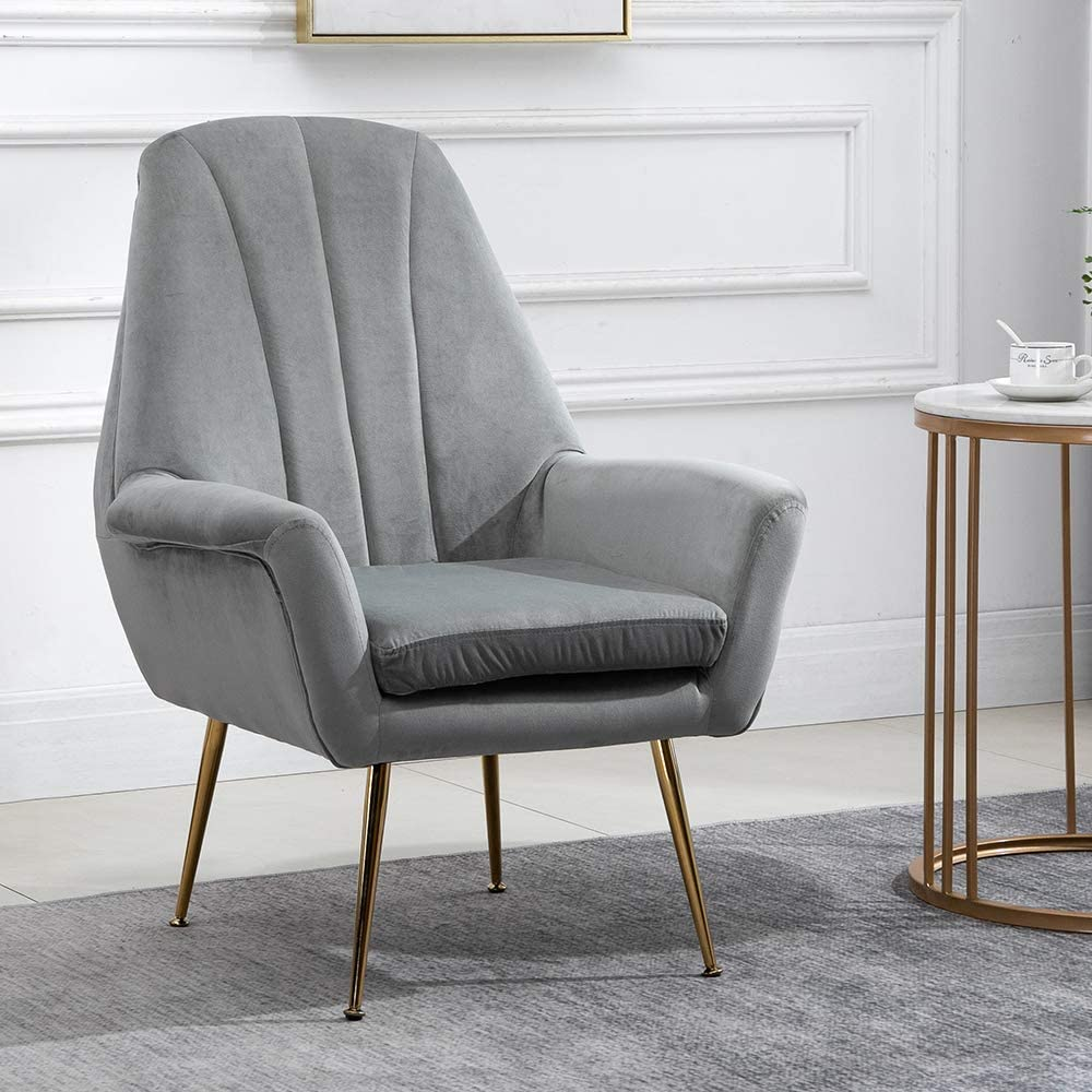HomeSailing Accent Living Room Tub Chairs Armchair with Velvet Upholstered  Seat and Metal Legs Occasional Single Sofa Chairs Home Office Decor for