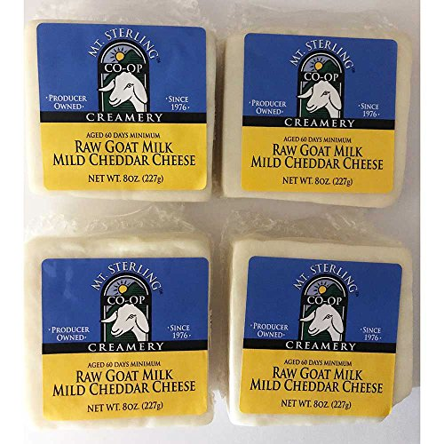 (Mt. Sterling Raw Goat Milk Cheddar Cheese - Four 8 oz. Packages)
