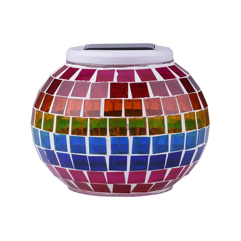 AOMOMO Waterproof Solar Powered Mosaic Glass Ball Patio LED Light, 5.12-Inch in Diameter and 4.13-Inch in Height