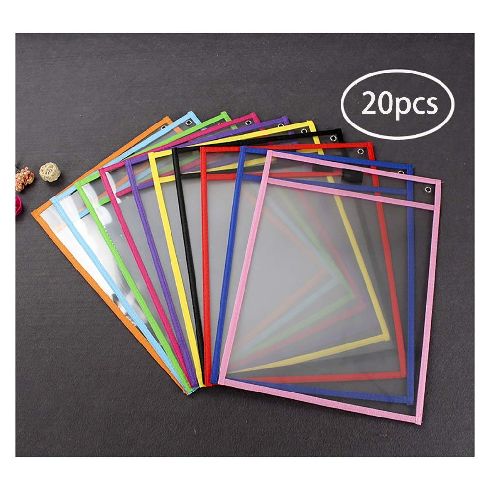20 PCS Dry Wipe Pocket,Transparent Folder Pocket Reusable Dry Erase Pocket Sleeves Protector Pocket Assorted Colors Eco Friendly Use for School Or at Work by AWYDHC