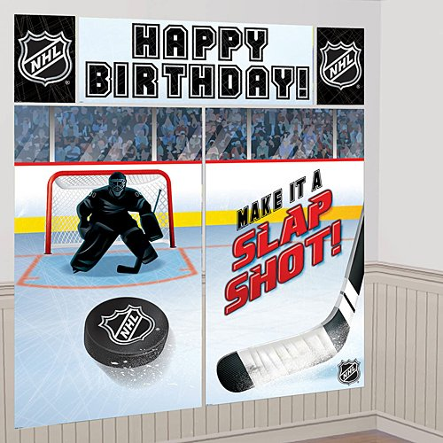 Nhl Hockey Wall - Sports & Tailgating NHL Party Scene Setter Wall Decorating Kit, 5 Pieces, Made from Vinyl, Multicolor, by Amscan