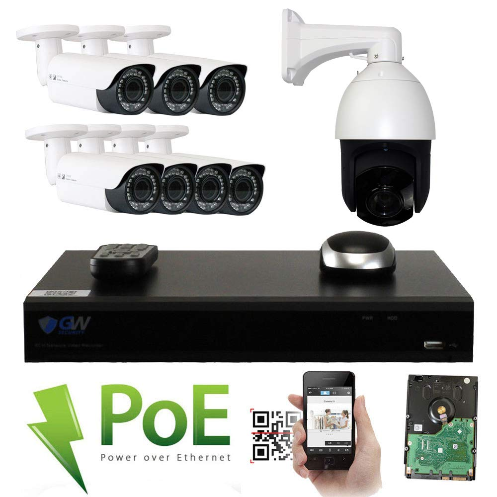 GW Security 8 Channel HD 1920p Security System with 4TB HDD, 7 HD 5MP 1920p 2.8-12mm Varifocal Outdoor Indoor PoE IP Cameras, and 1 20X Zoom 5MP 1920p IP PTZ Camera