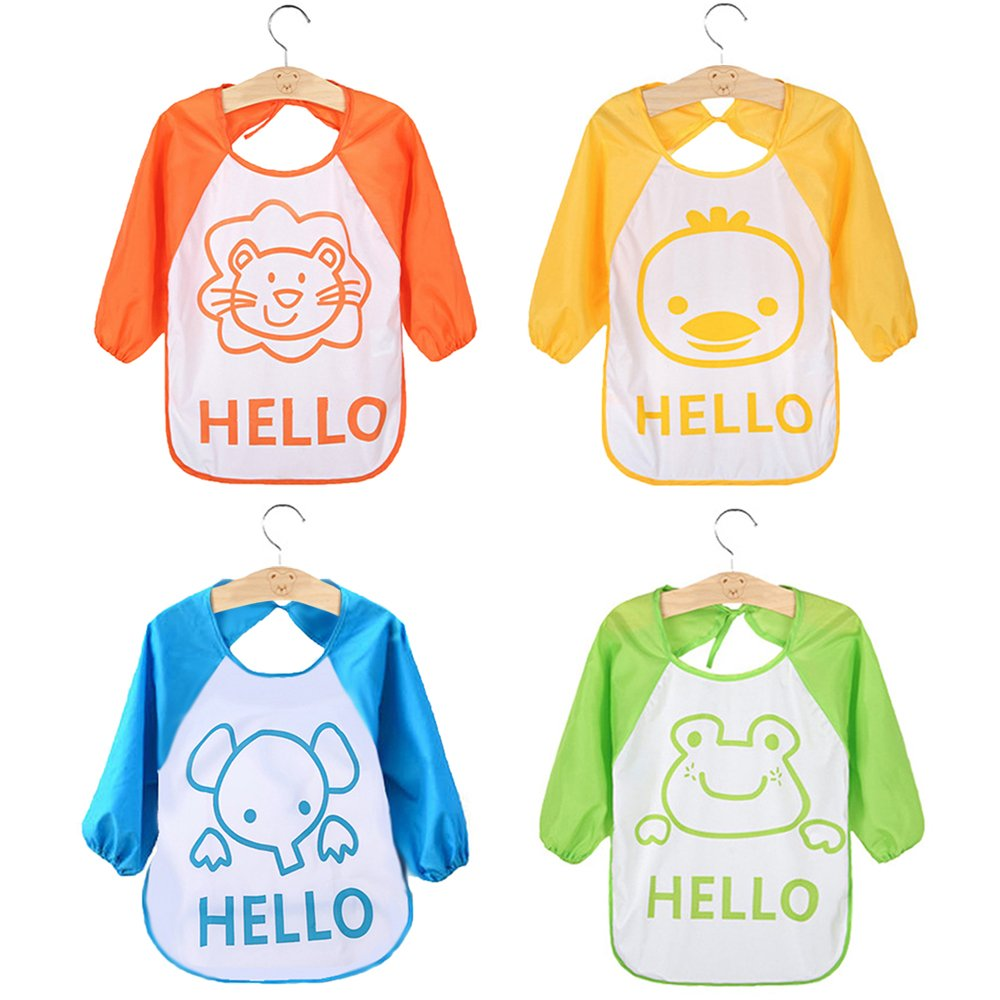 Baby Bibs, HBF 4 PCS Waterproof Long Sleeve Baby Bib Soft Comfortable Lovely Cute Baby Feeding Bibs