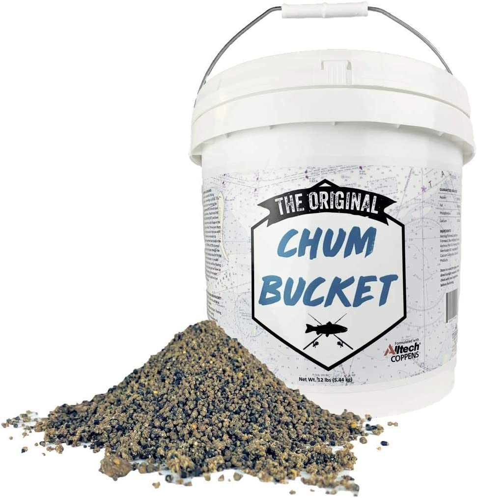 The Original Chum Bucket 12lb - Designed for Saltwater and Freshwater Fish - Triple Action Chum is Ready To Use, No Mixing Required - Grouper, Snook, Sharks, Tuna, Bass + More (chum for fishing)
