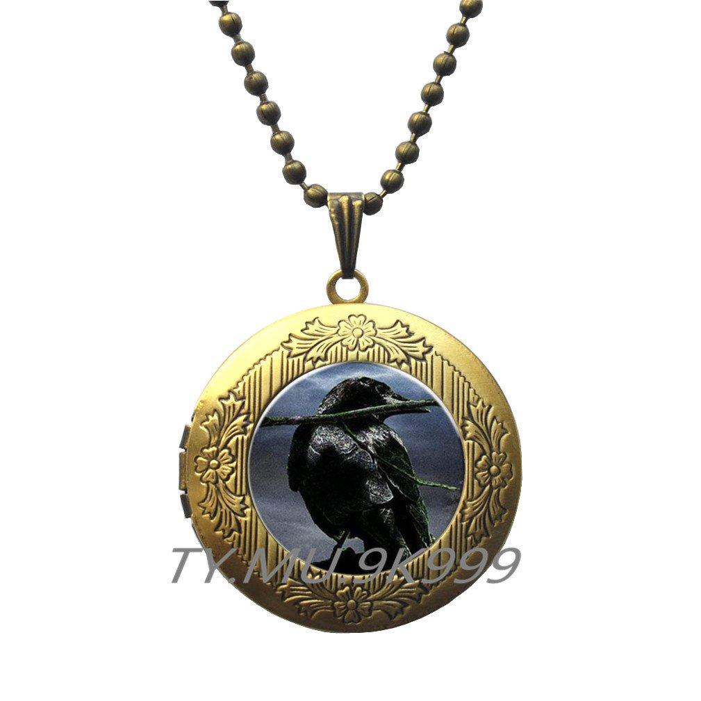 Black Bird Locket Necklace.Y004 Raven Locket Necklace Steampunk gothic Locket Necklace Crow Locket Necklace Yao0dianxku Raven Locket Pendant Bird Jewelry