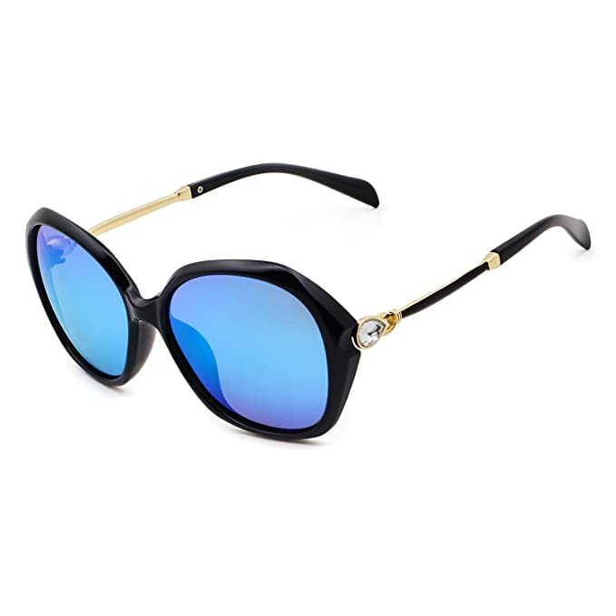5e888c761f Leckirut Fashion Oversized Mirrored Polarized Sunglasses for Women UV400  Rhinestone Design Sun Glasses for Driving Outdoor