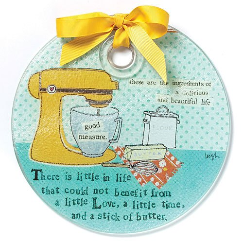 Demdaco Curly Girl Love and Butter Round Cutting Board