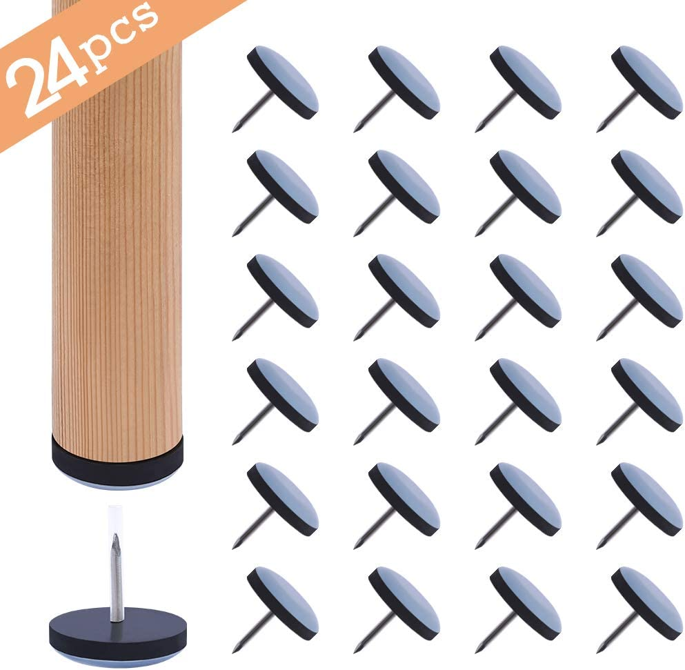 Ezprotekt 24 PCS Furniture Sliders,1 inch Furniture Glide for Hardwood Floors and Carpet,Nail on Chair Legs Furniture Gliders