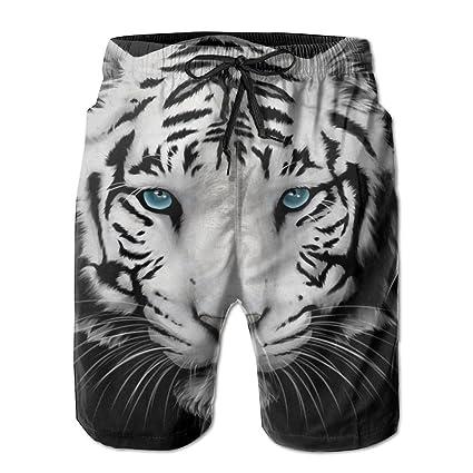 Mens Tiger Swim Trunks Beach Shorts for Man White