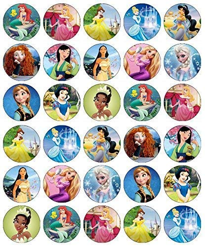 30 x Edible Cupcake Toppers - Princess by Disney Party Collection of Edible Cake Decorations | Uncut Edible Prints on Wafer ()