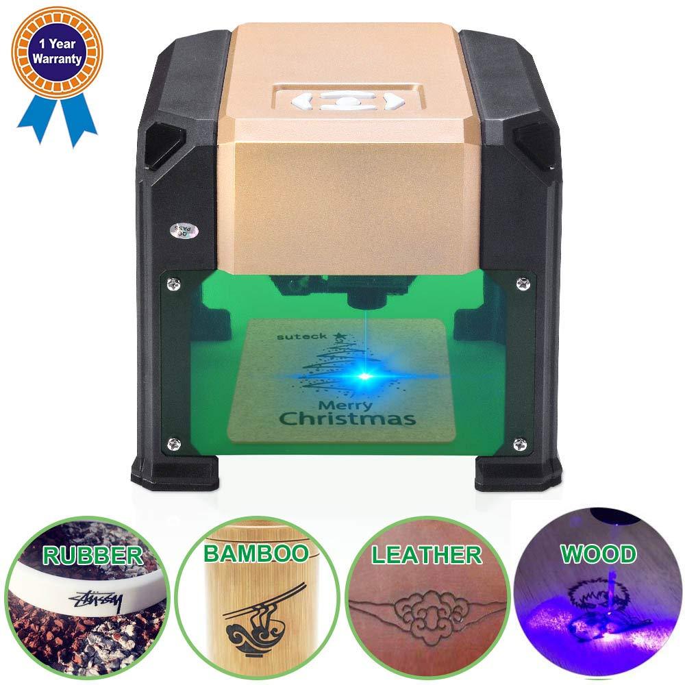 Suteck Laser Engraving Machine 3000MW Mini Laser Engraver Printer Working Area 7.5X7.5CM USB DIY Carving Wood Logo Desktop Laser Engraver by Suteck (Image #1)