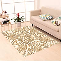 Nalahome Custom carpet rnate Ethnic Squared and Rounded Asian Indian Texture with Dimensional Axis Artsy Work Tan Cream area rugs for Living Dining Room Bedroom Hallway Office Carpet (4' X 6')