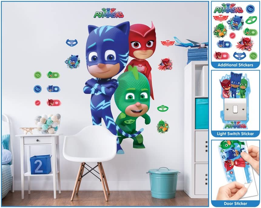 PJ Masks Walltastic, Adhesivos de Gran tamaño para tu habitación, Multicolor, Grande