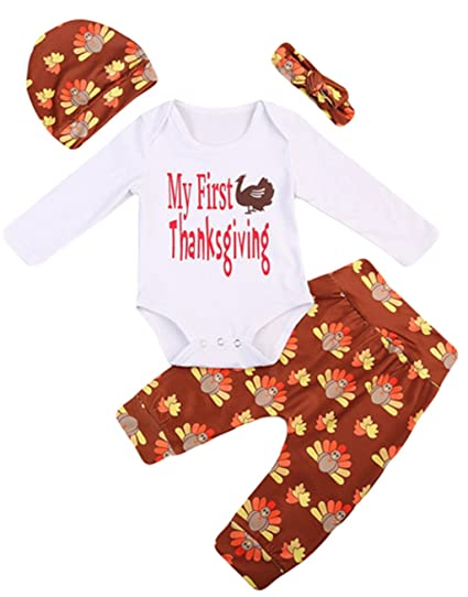 5866b487323 EGELEXY My First Thanksgiving Newborn Baby Turkey Romper +Pant Hat Headband  Outfit Size 3-