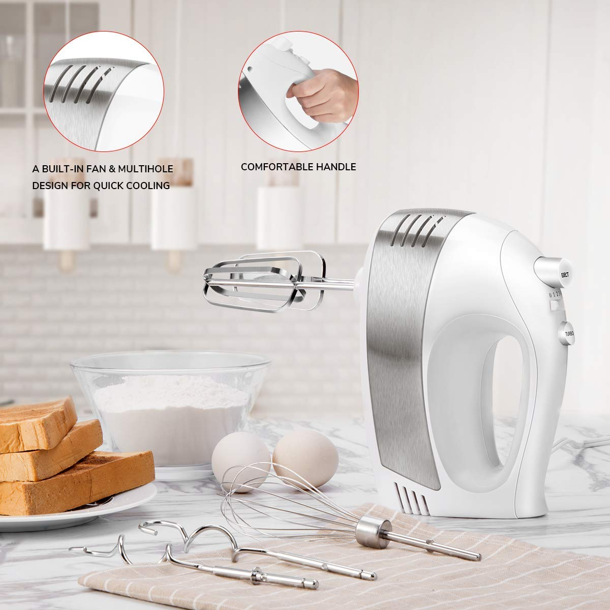 Hand Mixer with 5-Speed 250W Power Advantage Electric Handheld Mixer with Turbo and Easy Eject Button, Includes Storage Case Beaters Dough Hooks and Balloon Whisk, by KEEMO-White by KEEMO (Image #6)