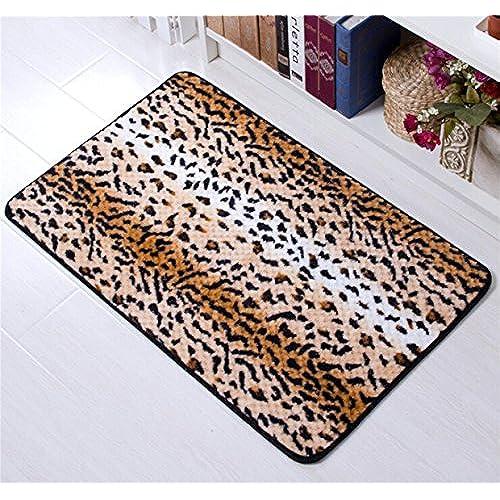 Amariver Coral Velvet Cheetah Rug Animal Print Rectangle Door Mat Leopard  Print Kitchen Rug Bedroom Carpet Super Soft Hallway Mat Anti Slip Bath Mats  ...