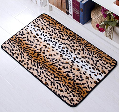b513d77f26 Amariver Coral Velvet Cheetah Rug Animal Print Rectangle Door Mat Leopard  Print Kitchen Rug Bedroom Carpet Super Soft Hallway Mat Anti-slip Bath Mats  ...