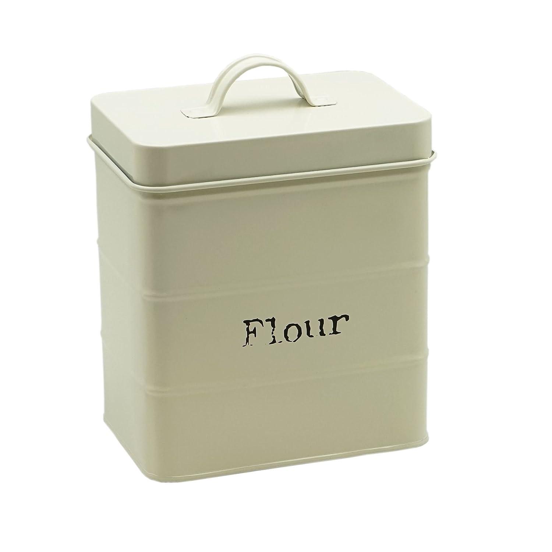 Metal Kitchen Flour Canister Bin / Holder - 160x105x180mm - Cream Harbour Housewares