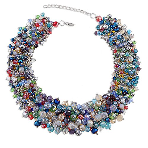 - KAYMEN FASHION JEWELLERY Fashionable Full Crystals Chunky Statement Chokers Necklace for Women Multicolor Good Qanlity Jewelry