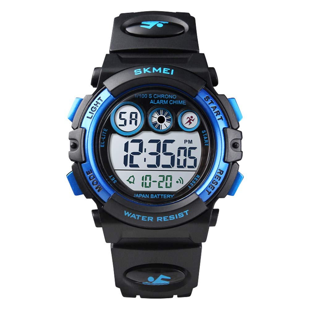 PASNEW Kids Watch,Multi-Function Waterproof Sport Watch Colorful LED Backlight Personality Electronic Watches,Suitable for Children Aged 7 or Over-Black