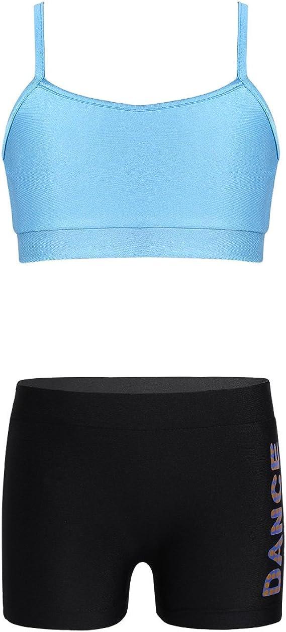 8-Jul dPois Kids Girls Polka Dot Strappy Top Bra with Shorts Set for Sports Workout Gymnastics Leotard Dancing Black Letters
