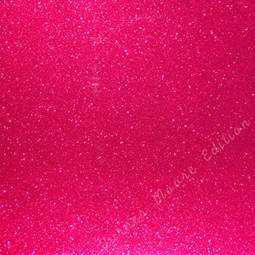 Magenta Glitter Vinyl 12 by 15 FEET Transparent Glitter Adhesive Roll - for Cricut, Silhouette Cameo, Craft Cutters, and Die Cutters by StyleTech (Magenta Glitter)