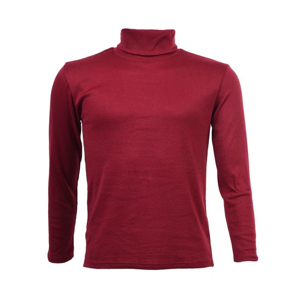 SODIAL(R) Moda para Hombre otono invierno de cuello alto sueter camisa patron puro Jersey Vino tinto - M