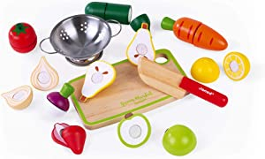 Janod Fruits & Vegetable Maxi Set – Market Crate with Wooden Sliceable Play Food - Kids Pretend Chef Cutting Food Set - 13 Accessories – Imaginative Creative Learning Through Role Play – Ages 3+ Years