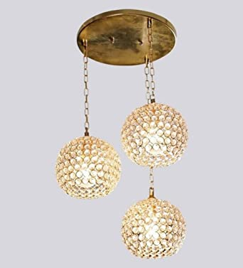 The Brighter Side Golden Crystal Hanging Light  Set Of 3 For Living Room  And Home Part 90