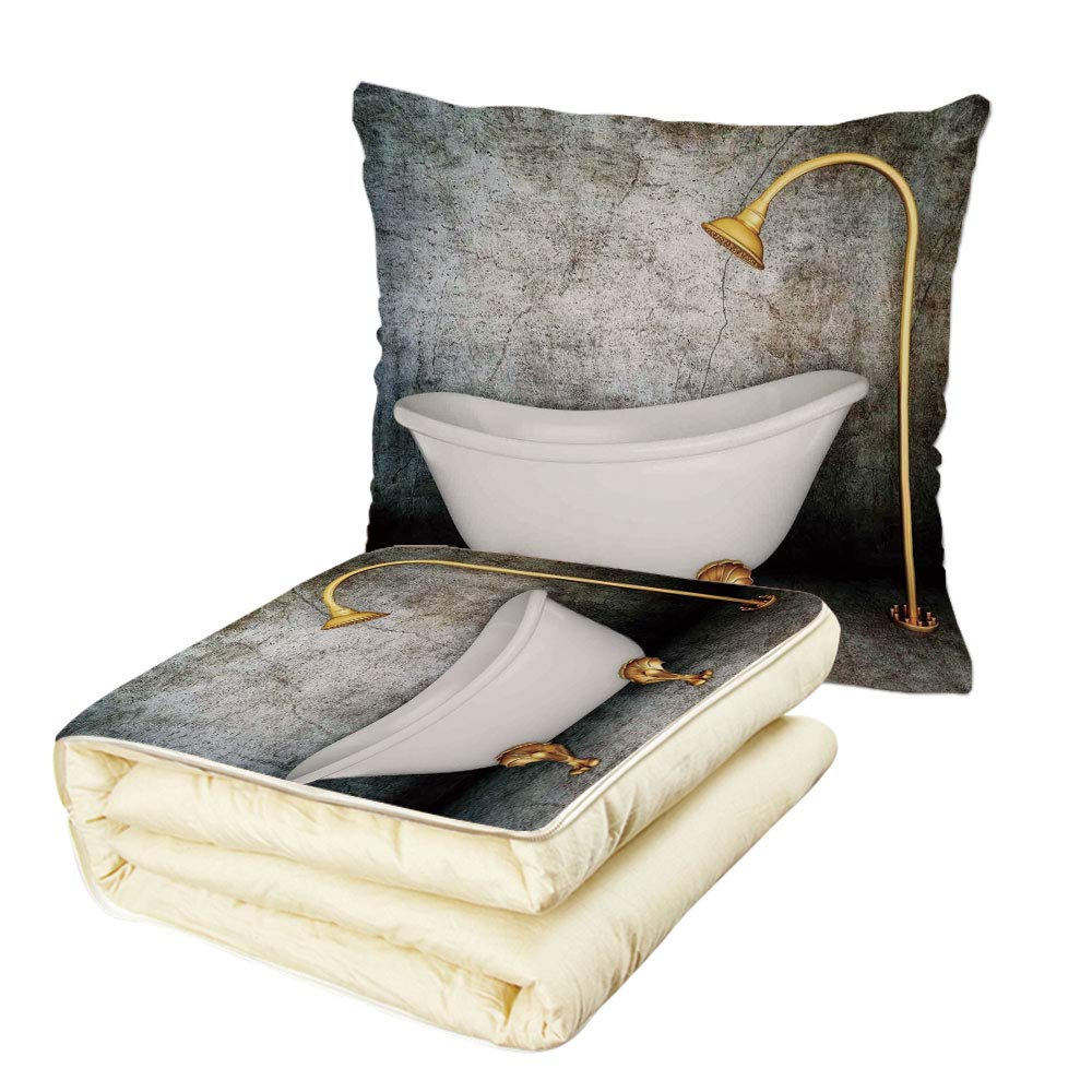Quilt Dual-Use Pillow Retro Vintage Bathtub in Room with Grunge Wall Lifestyle Resting Spa Theme Art Print Multifunctional Air-Conditioning Quilt Grey White Gold