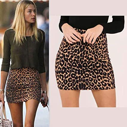 916c8ce03f4b0 Image Unavailable. Image not available for. Color: Women's Leopard Printed  Skirt High Waist Sexy Pencil Bodycon ...