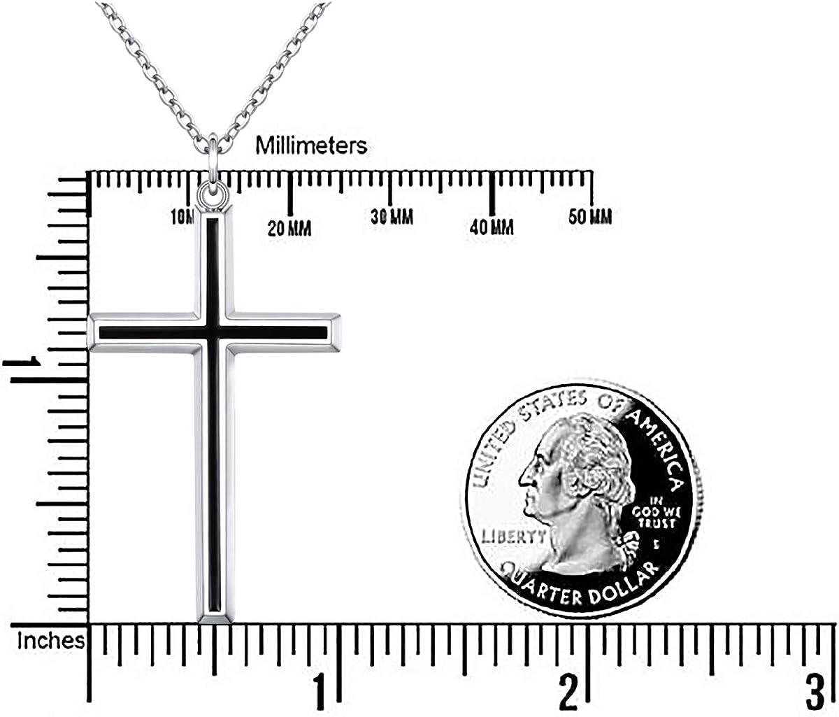 Flyow Collier Croix Noir pour Femme Homme Pendentif Classique Cha/îne Bijoux Argent Sterling 925 Cha/îne 61 cm