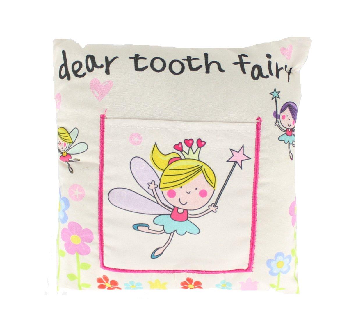 White Kids Tooth Fairy Money Pillow Cushion Soft Pocket 20 x 20cm