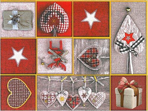 Wachstuch Tischdecke Abwaschbar Eckig 140 x 200 cm Meterware Weihnachten Grau Rot