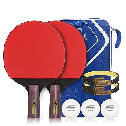 Ping pong padel - pack 2 raqueta de tenis de mesa pro premium sistema, 3 pelotas, ...