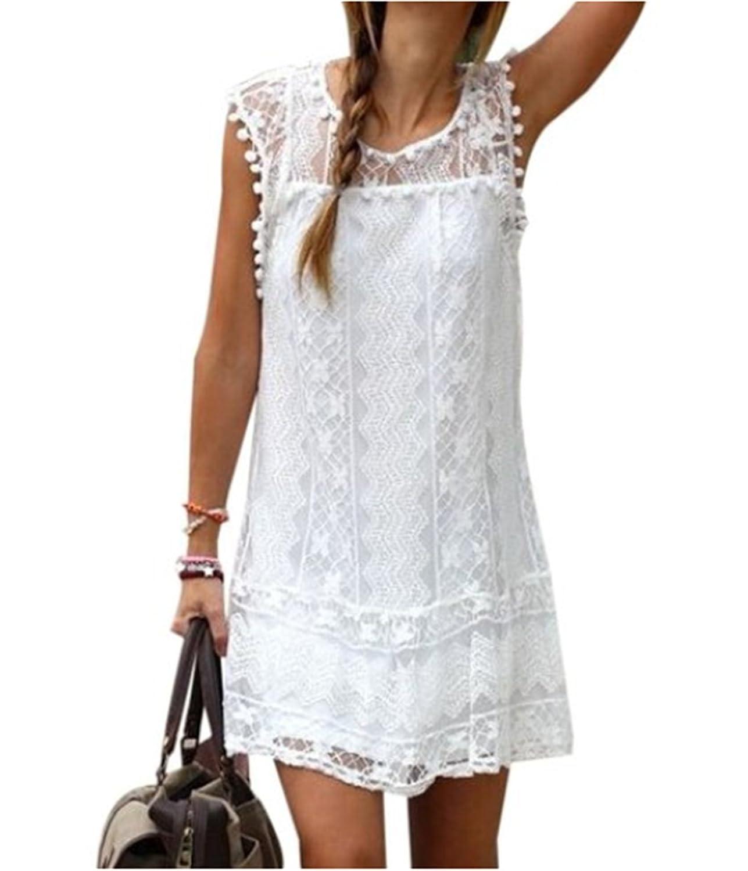 Fanessy Neu Damen Sommerkleid kurz Kleid lose ärmellos Strandkleid Spitze-Spleiß Rock