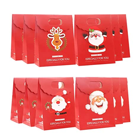 Bolsas de Papel Regalo 12 Kraft Navidad Bolsas de Regalo de ...