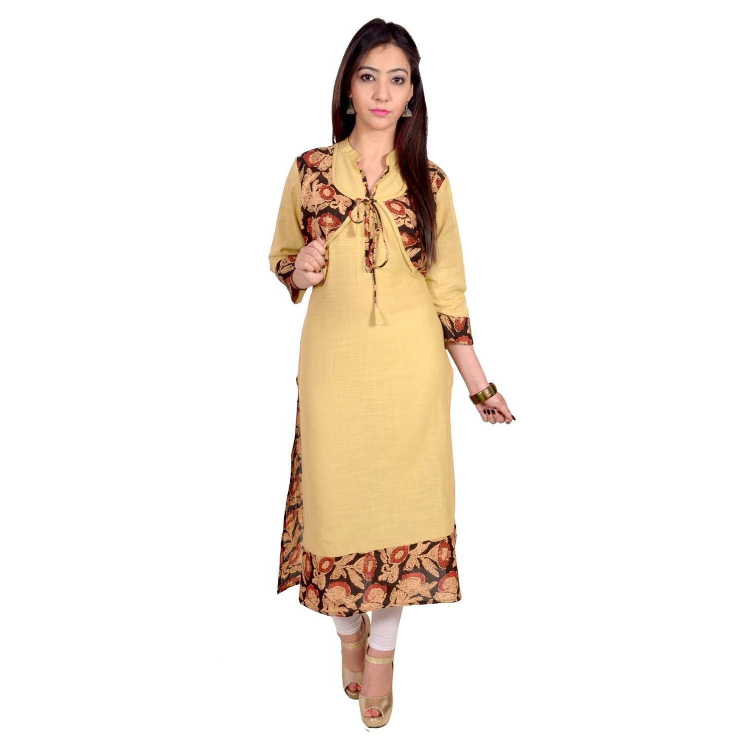 Chichi Indian Women Kurta Kurti 3/4 Sleeve Large Size Plain with Attached Jacket Straight Yellow Top by CHI