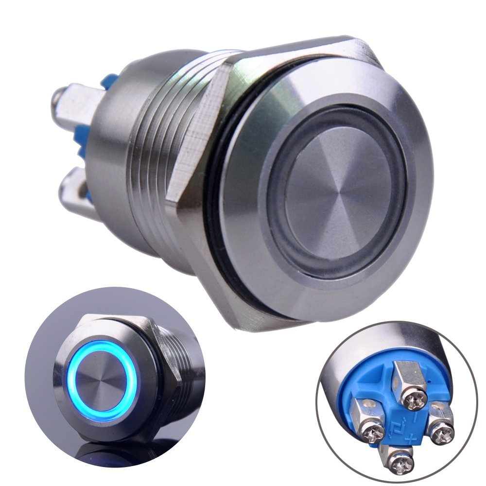 Ulincos Momentary Pushbutton Switch U16b1 1no Silver Details About Latching Push Button Rectangular Dc Stainless Steel Shell With Blue Led Ring Suitable For 16mm 5 8 Mounting Hole