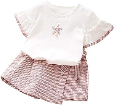 Ropa bebé niña Verano Ropa Infantil de niña Camiseta de Manga Corta Blusa Tops + pantalón Corto a Cuadros Conjuntos bebé niña Ropa para niña niños: Amazon.es: Ropa y accesorios