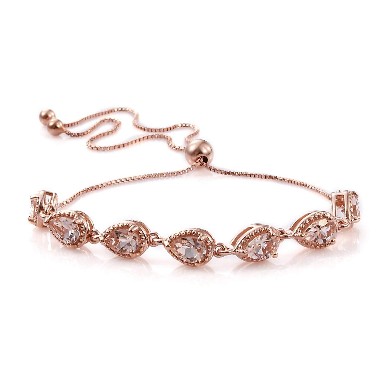 925 Sterling Silver Magic Bolo Bracelet Vermeil Rose Gold Pear AA Premium Morganite 10.50'' Ct 2 by Shop LC Delivering Joy